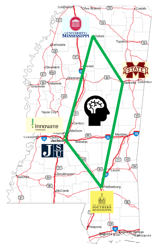 A map of the vquad incubator in Mississippi